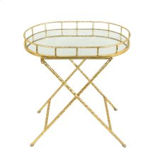 Oval Gold Metal Accent Table, Mirror Top