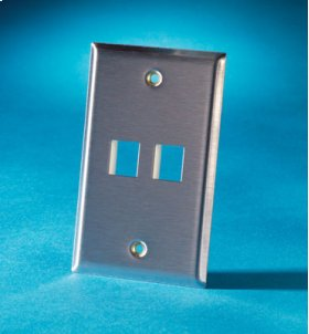 Single gang stainless steel faceplate, holds two Keystone jacks or modules