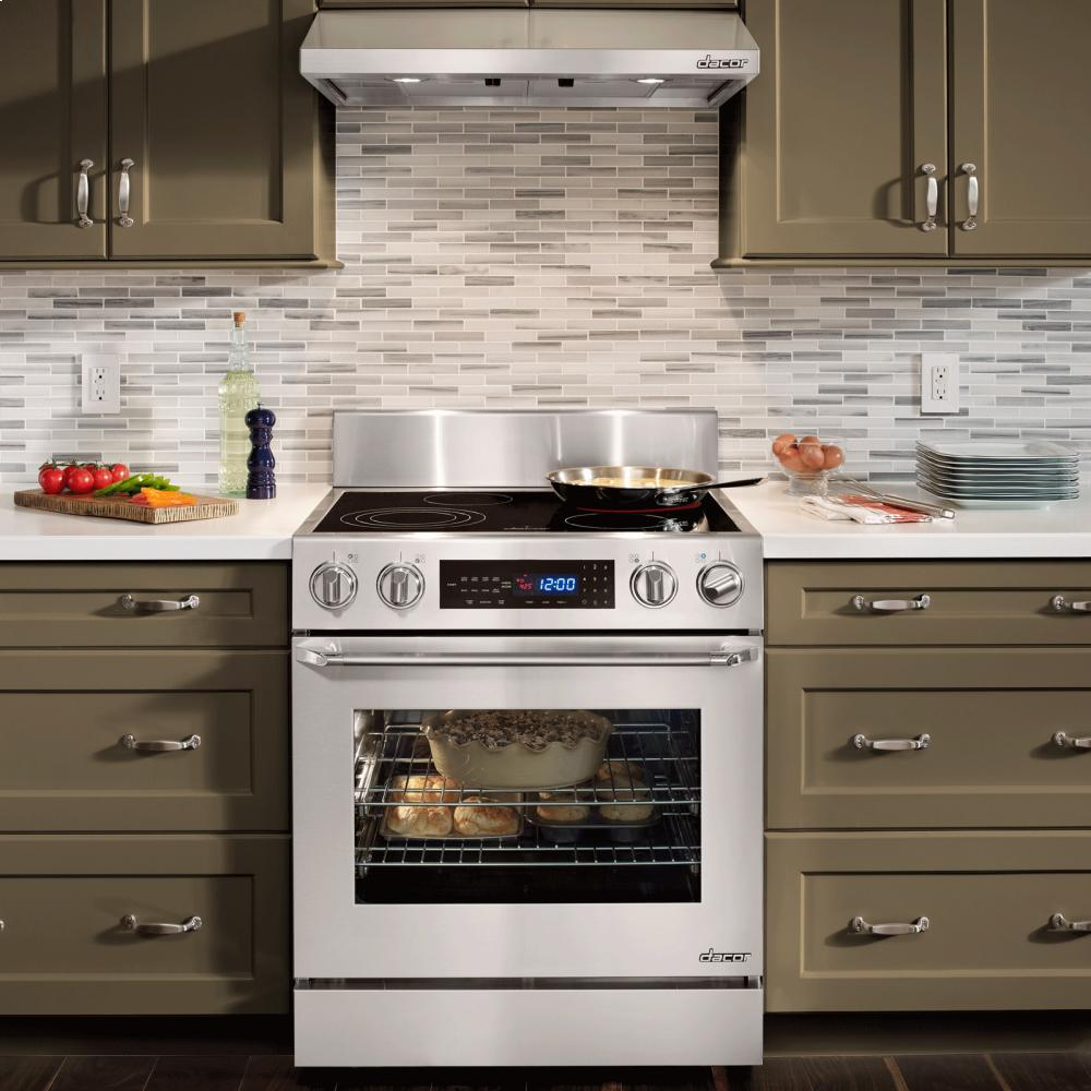 Distinctive 30 Freestanding Electric Range In Stainless Steel With Epicure R Style Handle Chrome Trim And 6 Backguard