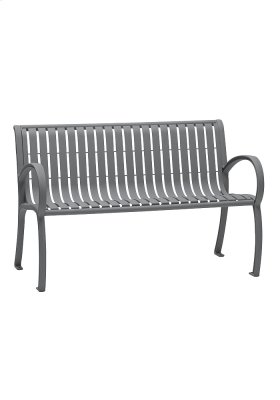 District 4' Bench with Back and Arms, Vertical Slat