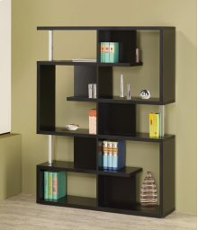 - Five tier double bookcase finished in black with chrome details- Constructed with steel, particle board, and engineered veneer- Also available in white (#800310)