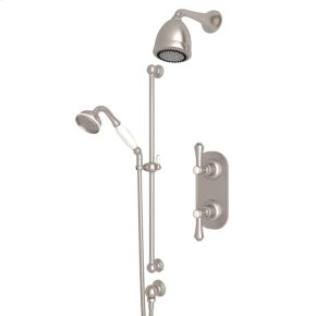 Satin Nickel Perrin & Rowe Georgian Era Thermostatic Shower Package with Georgian Era Metal Lever With Porcelain Cap