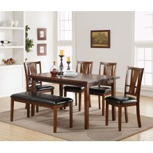 Dixon Dining Table, 4 Chairs and Bench