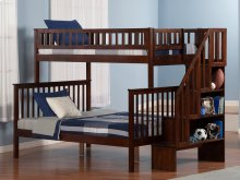 Woodland Staircase Bunk Bed Twin over Full in Walnut