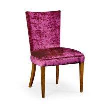 Biedermeier Style Walnut Dining Side Chair (Fuchsia)