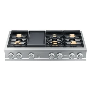 "DacorModernist 48"" Rangetop, Silver Stainless Steel, High Altitude Liquid Propane"