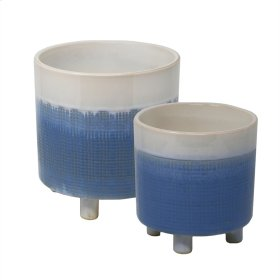 "S/2 Footed Planters, 8.5/6"", Blue Mix"
