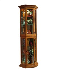 Angled 5 Shelf Mirrored Curio in Golden Oak Brown Product Image