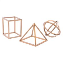 Geo Shapes Set Of 3 Antique Brass