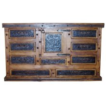 Door Dresser W/Tooled Leather