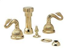 Four Hole Bidet Swan Lever Handles - Polished Brass