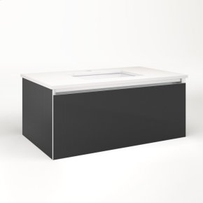 """Cartesian 36-1/8"""" X 15"""" X 21-3/4"""" Single Drawer Vanity In Smoke Screen With Slow-close Full Drawer and Night Light In 5000k Temperature (cool Light)"""