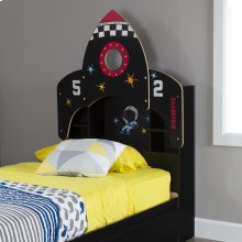 Bookcase Headboard with Decals, Space Rocket Themed - 39''
