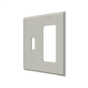 Switch Plate, Single Switch/Single Rocker - Brushed Nickel