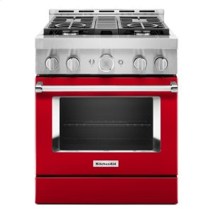 KitchenAidKitchenAid® 30'' Smart Commercial-Style Gas Range with 4 Burners - Passion Red