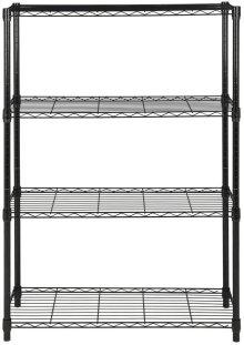 Bravo 4 Tier Chrome Wire Rack (35 In W X 13 In D X 53 In H) - Black Powder Coated