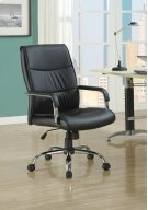 OFFICE CHAIR - BLACK LEATHER-LOOK FABRIC Product Image
