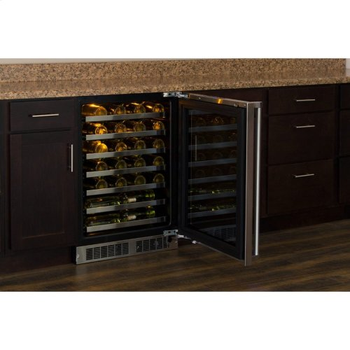 """Marvel Professional 24"""" High Efficiency Single Zone Wine Refrigerator - Panel-Ready Framed Glass Door with Lock - Integrated Left Hinge (handle not included)*"""