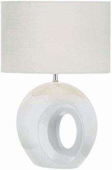 Table Lamp, White Ceramic Body/white Fabric, E27 A 100w