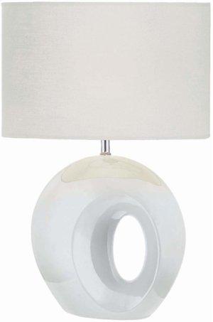 Table Lamp, White Ceramic Body/white Fabric, E27 A 100w