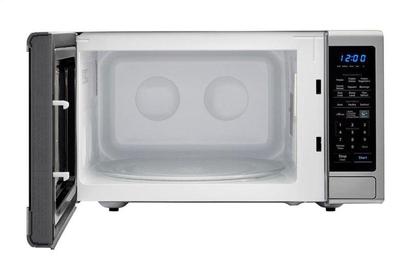 Hidden Additional 1 8 Cu Ft 1100w Sharp Stainless Steel Countertop Microwave With Black Mirror Door