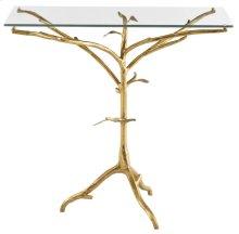 Alanya Bedside Table Glass Top and Metal Base