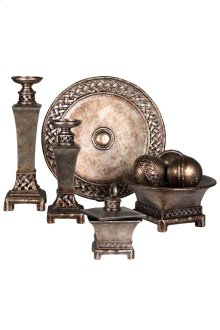 Decorative Group With Two Candle Holders Charger Three Orbs In Bowl And Jewelry Box