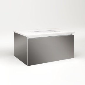 """Cartesian 30-1/8"""" X 15"""" X 21-3/4"""" Single Drawer Vanity In Tinted Gray Mirror With Slow-close Full Drawer and No Night Light"""