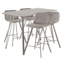 Sedona 5-piece Counter Set - Brushed Antique Metal, Dark Brown Wood, Grey Fabric