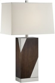 Table Lamp, Ps/dark Walnut/off-wht Linen Shade, E27 Cfl 23w Product Image