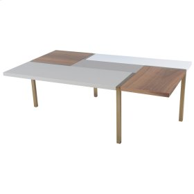 Fenno KD Coffee Table Brushed Brass Legs, White/Gray/Walnut