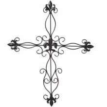 Antique Bronze Fleur de Lis Wall Cross