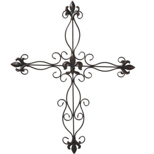 Antique Bronze Fleur de Lis Wall Cross