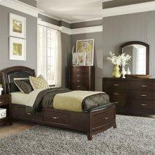 Twin One Sided Storage Bed, Dresser & Mirror
