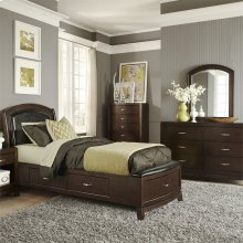 Twin One Sided Storage Bed, Dresser & Mirror