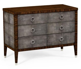 Faux Macassar Ebony & Anthracite Faux Shagreen 3-Drawers Chest of Drawers