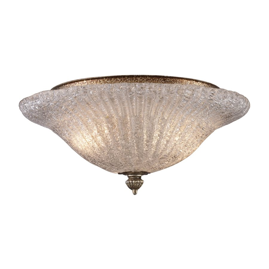 PROVIDENCE 2-LIGHT FLUSH MOUNT in SILVER LEAF