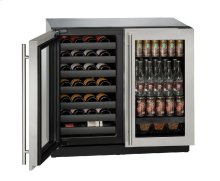 """Modular 3000 Series 36"""" Beverage Center With Stainless Frame Finish and Double Doors Door Swing (115 Volts / 60 Hz)"""