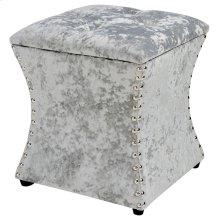 Amelia Velvet Fabric Nailhead Tufted Storage Ottoman, Persian Gray