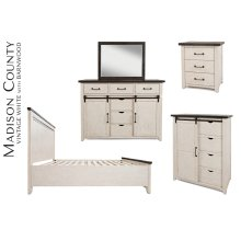 Madison County 5 PC Queen Panel Bedroom: Bed, Dresser, Mirror, Nightstand, Chest - Vintage White