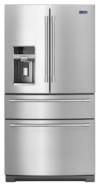 Maytag(R) 36- Inch Wide 4-Door French Door Refrigerator with Maytag(R) Steel Shelves - 26 Cu. Ft.