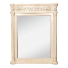 """33.6875"""" x 42"""" Antique White mirror with hand-carved details and beveled glass"""