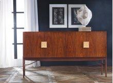 Rosewood Sideboard, Rosewood Veneer. Gold Leaf Textured Hardware.