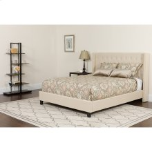 Riverdale Twin Size Tufted Upholstered Platform Bed in Beige Fabric