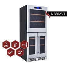 Kucht 78-Bottle Triple Zone Wine Cooler Built-in with Compressor in Stainless Steel