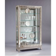 Antique Style 5 Shelf Mirrored Curio Cabinet in Aged Silver