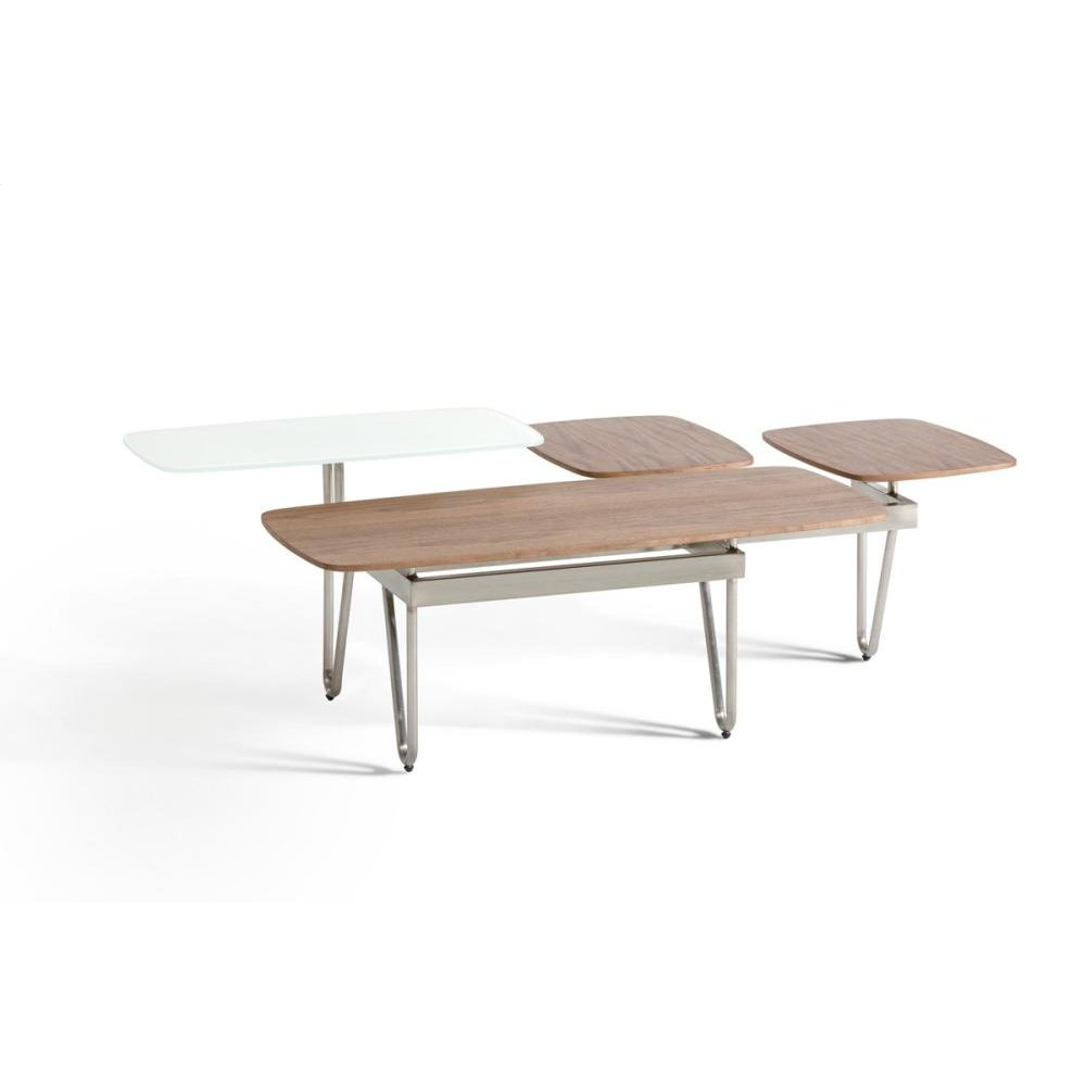 Modrest Aegean Contemporary Walnut and Glass Coffee Table