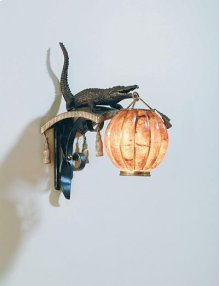 Finely Cast Dark Bronze and Patinated Brass Alligator Wall Lamp, Tiger Penshell Globe