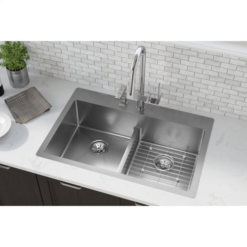 """Elkay Crosstown Stainless Steel 33"""" x 22"""" x 9"""", Equal Double Bowl Dual Mount Sink Kit with Aqua Divide"""