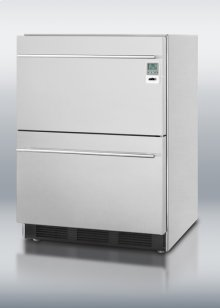 Commercially Approved Two-drawer Stainless Steel Refrigerator With Temperature Alarm and Hospital Grade Cord; for Built-in or Freestanding Use